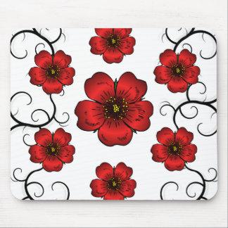 Floral rojo diseñado con los colores vivos mousepad