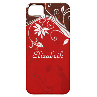 Floral rojo elegante funda para iPhone SE/5/5s