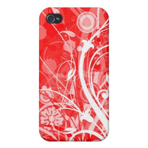 floral rojo iPhone 4 coberturas