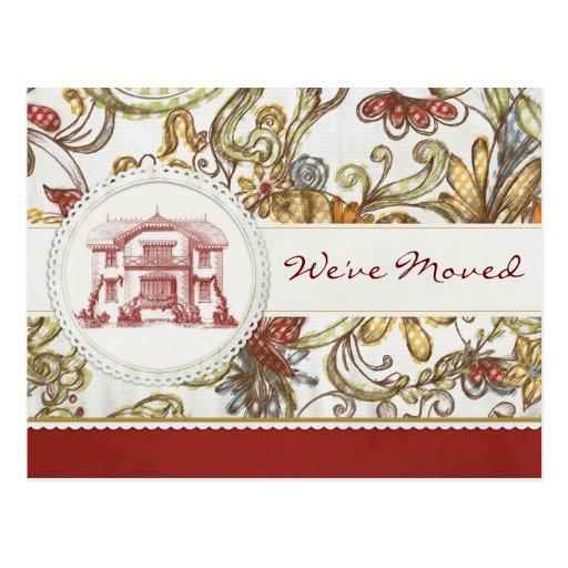 Floral rojo nos hemos movido postal
