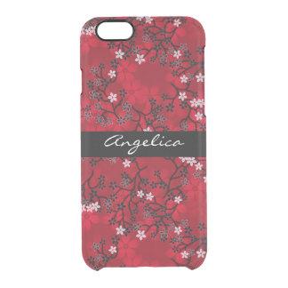 Floral rojo oriental del vintage elegante funda clearly™ deflector para iPhone 6 de uncommon