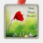 Floral - rojo ornamento para arbol de navidad
