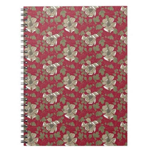 Floral rojo retro cuaderno