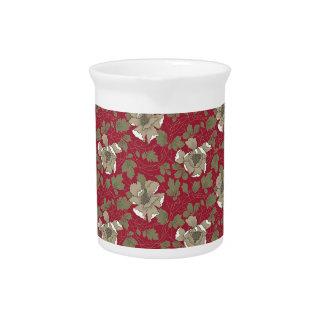 Floral rojo retro jarra