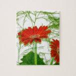 Floral rojo rompecabeza con fotos