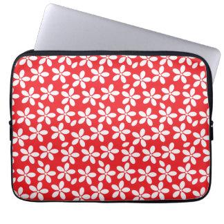 Floral rojo y blanco decorativo mangas portátiles