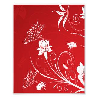 Floral rojo y blanco moderno cojinete