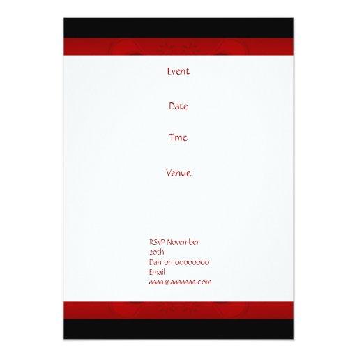 Floral rojo y negro del cumpleaños de la invitación 12,7 x 17,8 cm