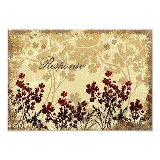Floral rojo y poner crema de la tarjeta de RSVP de Invitación
