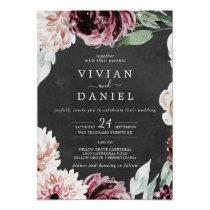 Floral Romance   Gray Casual Wedding Invitation