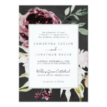 Floral Romance   Gray Formal Wedding Invitation