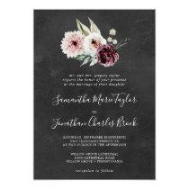 Floral Romance   Gray Traditional Wedding Invitation