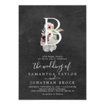 Floral Romance Letter B Monogram   Gray Wedding Invitation