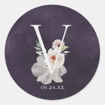 Floral Romance Letter V Monogram Plum Wedding Seal