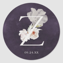 Floral Romance Letter Z Monogram Plum Wedding Seal