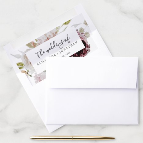 Floral Romance Wedding Envelope Liner