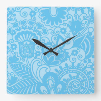 Floral romantic 6 square wall clocks