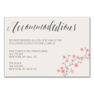 Floral Romantic Pink Wedding Accommodation Cards