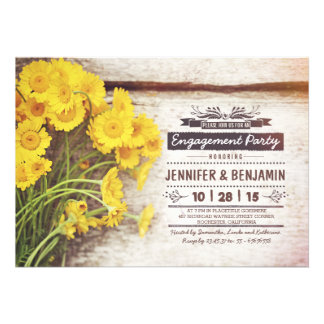 floral romantic rustic engagement party invitation card