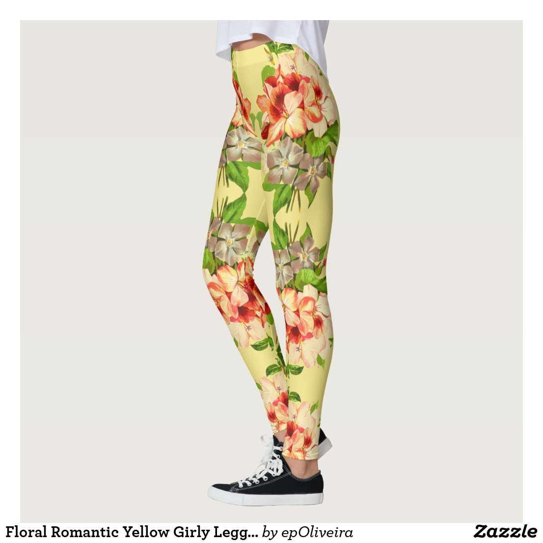 Floral Romantic Yellow Girly Leggings