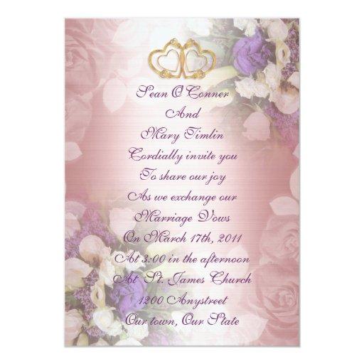 Floral romántico de la invitación del boda