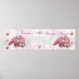Floral rosado blanco de la ducha nupcial de la ban poster