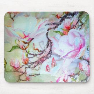 Floral rosado blanco de las orquídeas japonesas de mouse pads