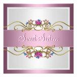 Floral rosado bonito del décimosexto cumpleaños de comunicados personalizados
