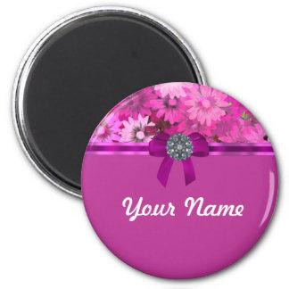 Floral rosado bonito imán redondo 5 cm