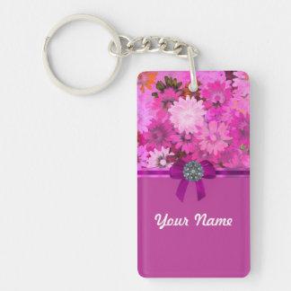 Floral rosado bonito llavero rectangular acrílico a doble cara