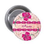 Floral ROSADO - botón Pin Redondo De 2 Pulgadas