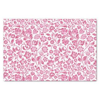 Floral rosado brillante en blanco papel de seda pequeño