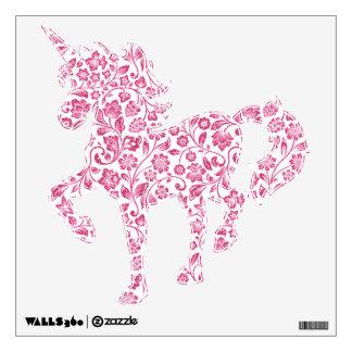 Floral rosado brillante en blanco vinilo adhesivo