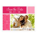 Floral rosado brillante tarjetas postales