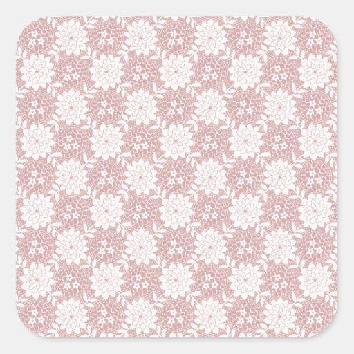Floral rosado calcomanías cuadradass
