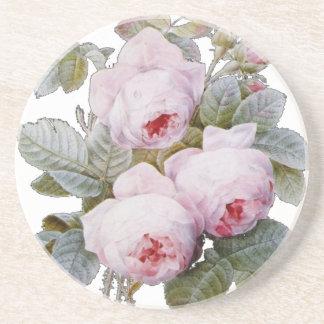 Floral rosado de Borbón de la rosaleda inglesa Posavasos Manualidades