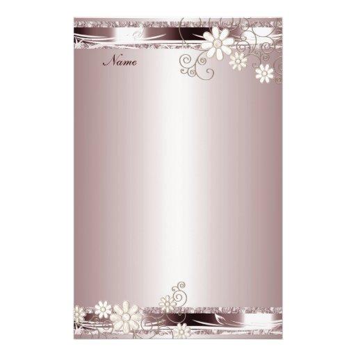 Floral rosado de los efectos de escritorio  papeleria de diseño