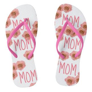 """Floral rosado de los flips-flopes de la """"MAMÁ"""""""