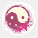 Floral rosado de Yin Yang Pegatinas
