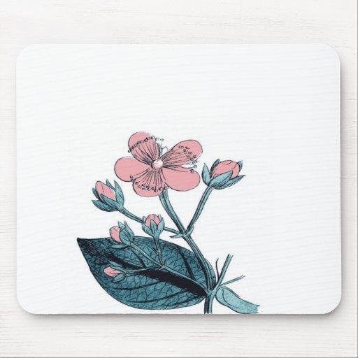 Floral rosado delicado tapete de ratón