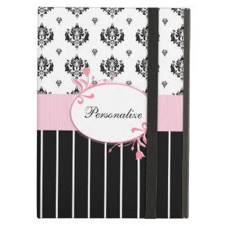 Floral rosado elegante del damasco blanco y negro