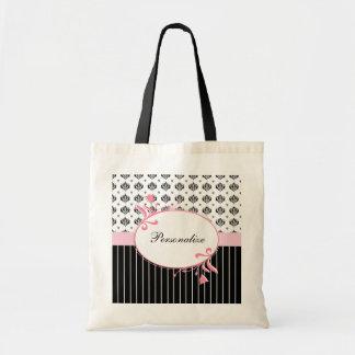 Floral rosado elegante del damasco blanco y negro bolsa lienzo