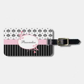 Floral rosado elegante del damasco blanco y negro etiqueta de equipaje
