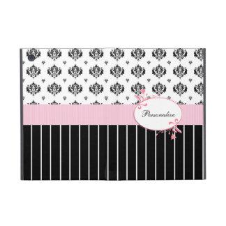 Floral rosado elegante del damasco blanco y negro iPad mini funda