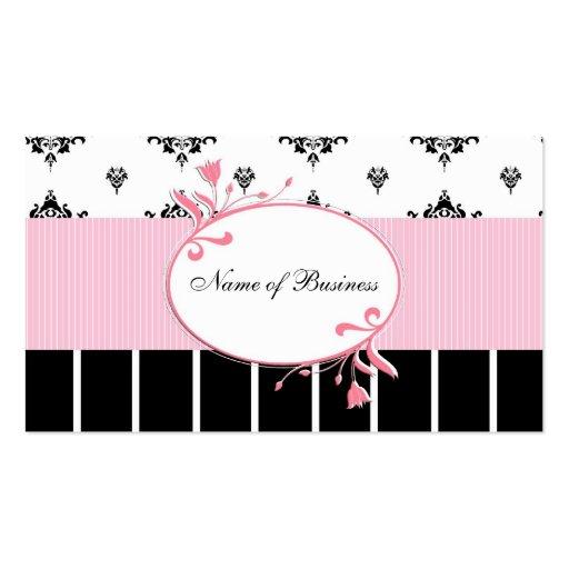 Floral rosado elegante del damasco blanco y negro tarjetas de negocios