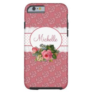 Floral rosado femenino lindo personalizado funda de iPhone 6 tough