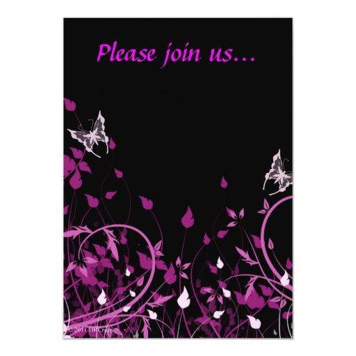 Floral rosado invitación 12,7 x 17,8 cm