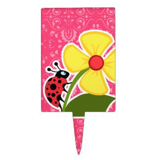 Floral rosado; Mariquita Decoración Para Tarta