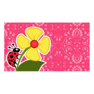 Floral rosado; Mariquita Tarjetas De Visita