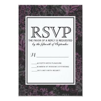 """Floral rosado, negro, y gris elegante elegante invitación 3.5"""" x 5"""""""